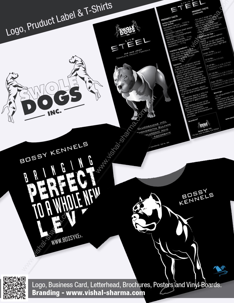 Logo Design, Product Labels and T-Shirt Designs for Swole Dogs Inc.