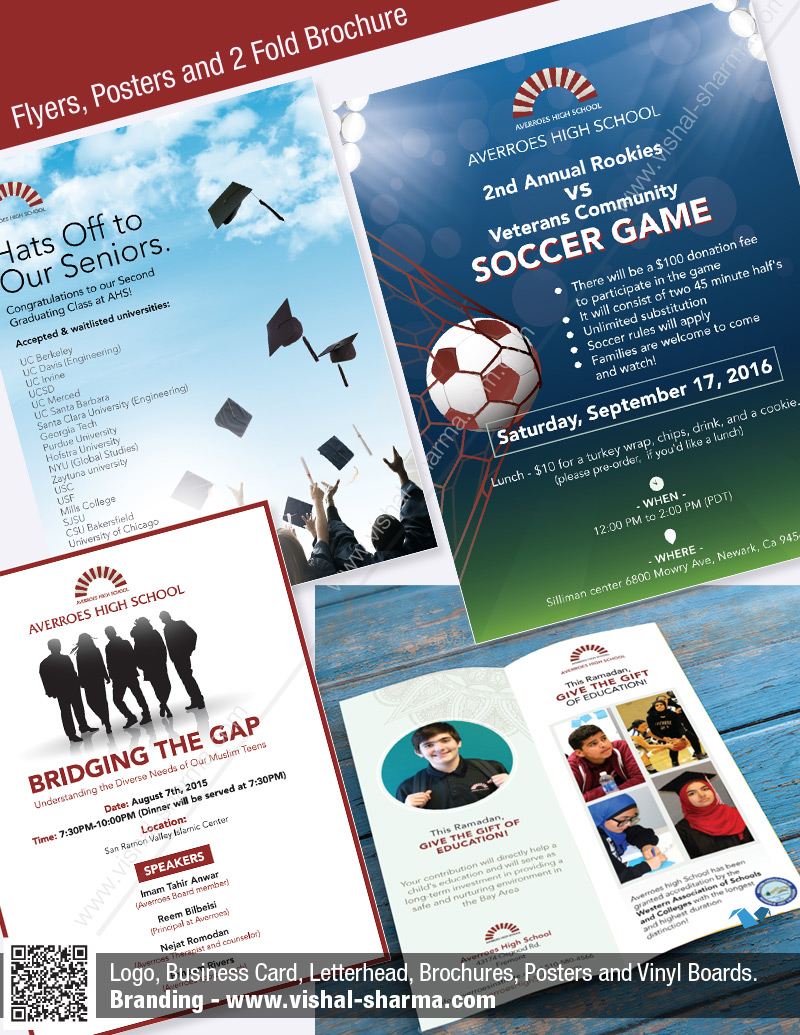 Brochure Design, Poster Designs, Flyer Designs and Donation Card Designs for Averroes High School, USA