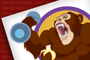 Mascot Logo Designs for Strong Monkey Bars food supplement made of banana, USA